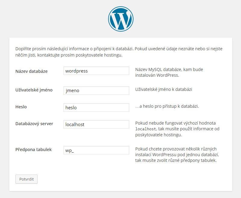 Wordpress nastavení a instalace