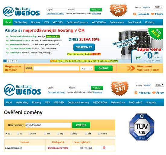 Wedos - Ověření domény