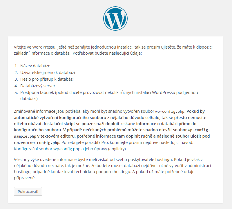 Wordpress instalace 01
